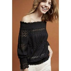 Anthropologie Deletta Small Riley Lace Top Off Sho